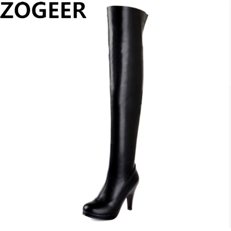 Plus Size 46 2018 Spring Autumn Women Thigh High Boots Sexy High Heel Soft PU Leather Over the knee Boots Sexy Black Shoes Woman spring autumn women over the knee boots thick high heel woman thigh high long boots high quality plus size 34 40 41 42 43 botas