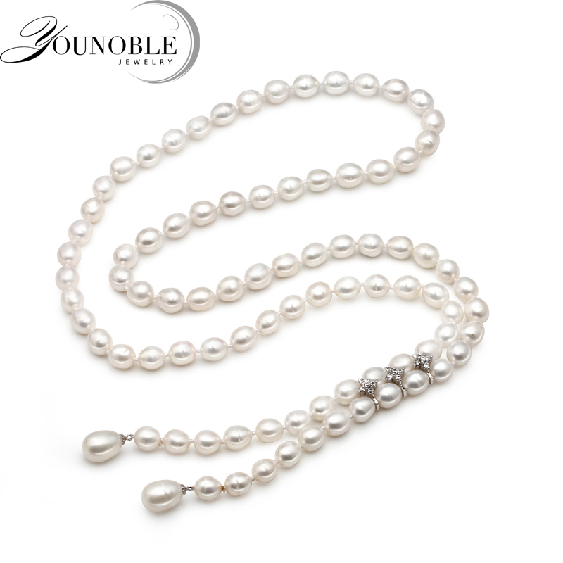 Real Natural Long Pearl Necklace Women,Water Drop Freshwater Pearl Chain Collar Birthday Gift