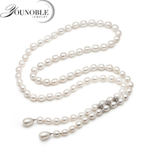 Real natural long Pearl Necklace Women,Water Drop Freshwater Chain Collar birthday gift