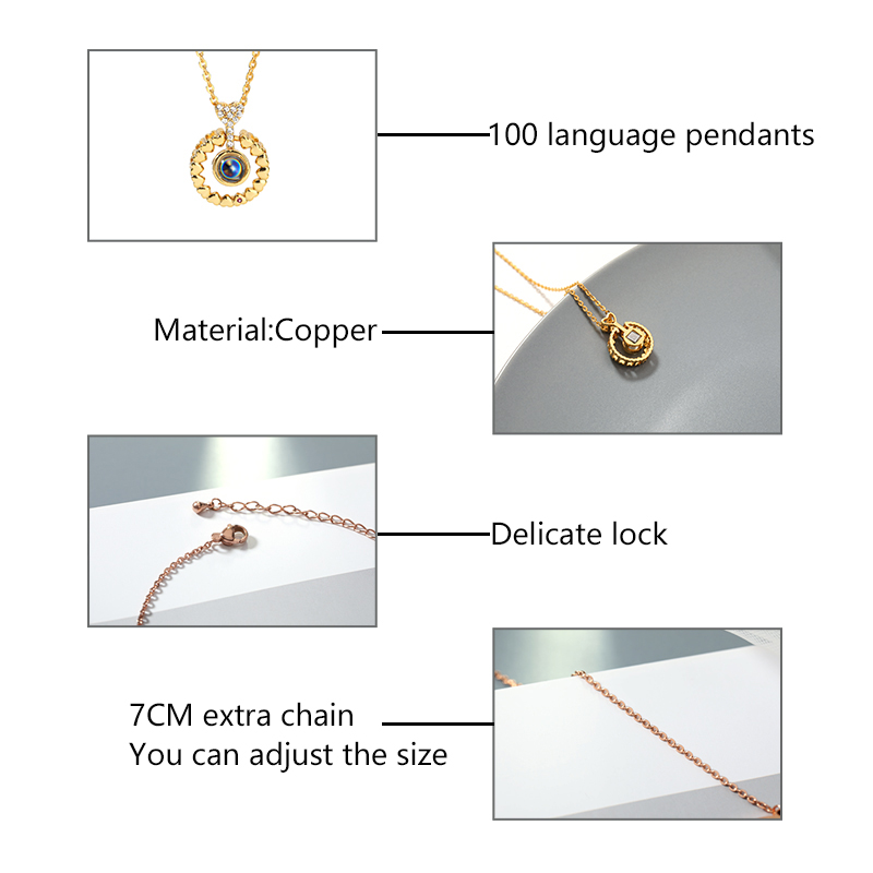 100 Languages I love you Projection Pendant Necklace Romantic Love Memory Wedding Necklaces Pendants For Jewelry Accessories in Pendant Necklaces from Jewelry Accessories