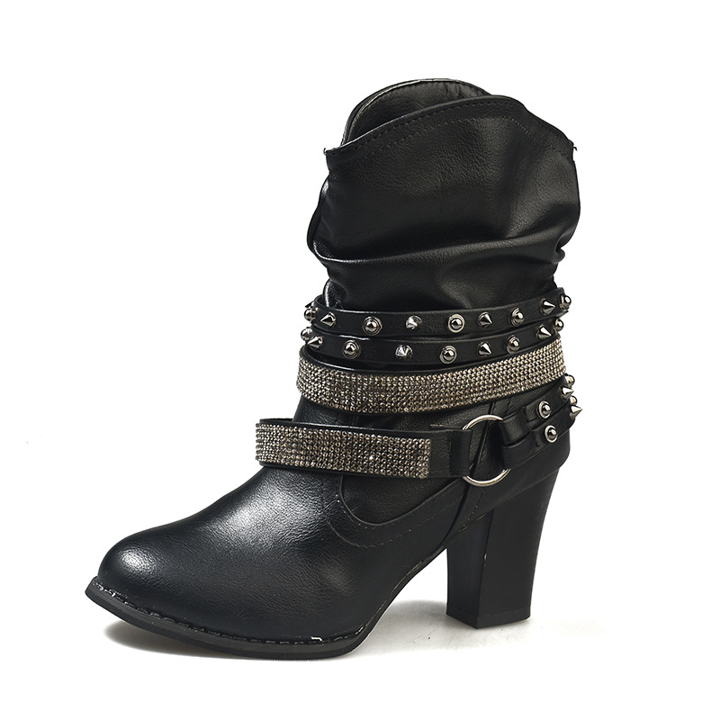 2018 autumn and winter high-heeled new round head waterproof platform thick with rhinestone ladies boots black ljj 11162018 autumn and winter high-heeled new round head waterproof platform thick with rhinestone ladies boots black ljj 1116