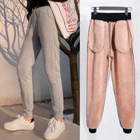 Hot Winter Lambskin Thicker Warm Pants Casual Women Loose Large Size Solid Color Cotton Harem Pants Trousers Tracksuit