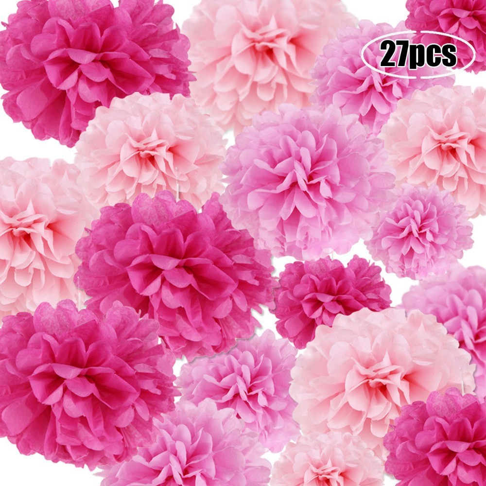 Marriage Wedding Decorations 19colors 5pcs 15cm/20cm/25cm Tissue Paper Pom Poms Flower Hanging Decoration Birthday Girls Party