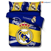 LumiParty Home Use 4pcs Football Team Real Madrid Pattern Bedding Set Quilt Duvet Cover Bed Sheet