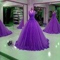 Vestido de Bola Púrpura Vestidos de Quinceañera 2016 Applique Del Cordón Del Corsé Dulce 16 Vestido de Tul Pageant Vestido Más El Tamaño Barato Vestidos De 15