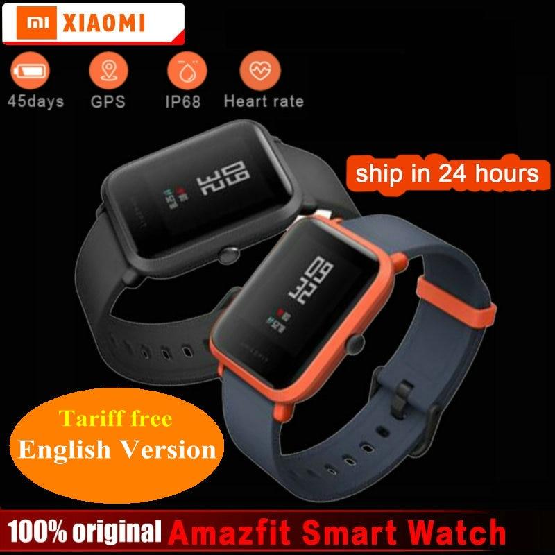 Xiaomi Amazfit Bip Smart Watch [English Version] Huami GPS Smartwatch Pace Lite Bluetooth 4.0 Heart Rate 45 Days Battery IP68 huami amazfit smart watch xiaomi smartwatch bip bit face gps fitness tacker heart rate ip68 waterproof english version