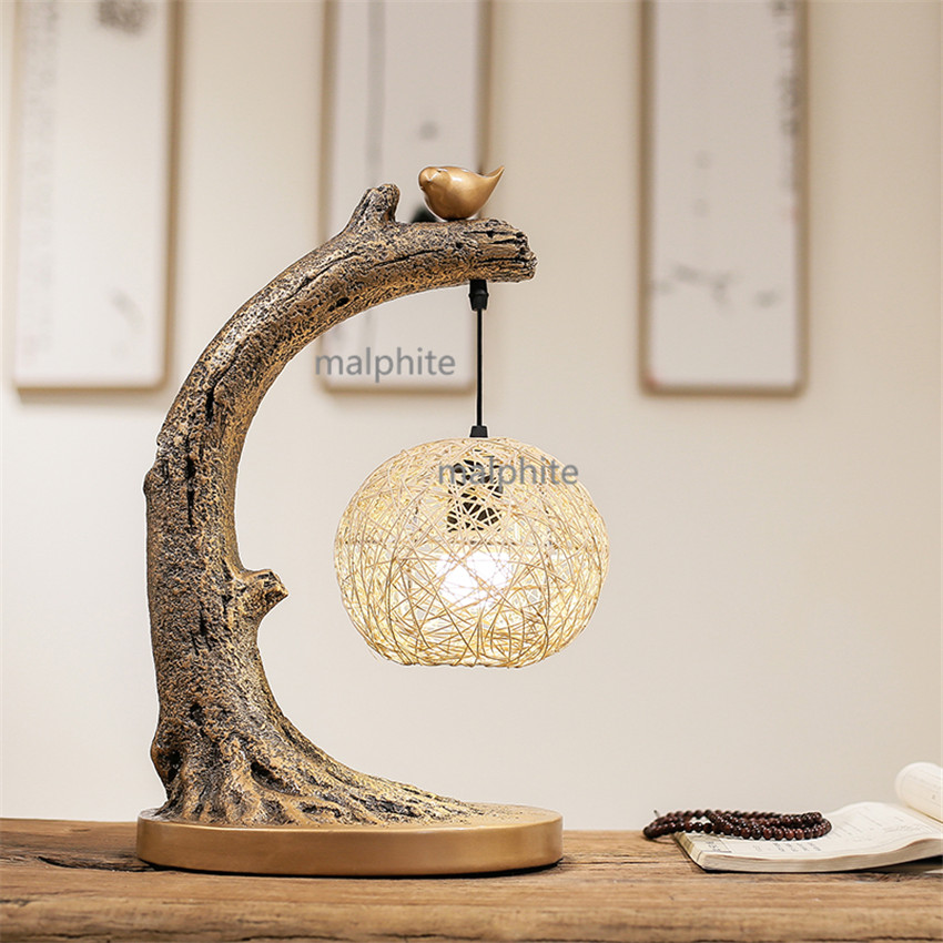 Modern Chinese Style Retro Lighting Table Lamp Bedroom Bedside Novelty Table Lights Study Decoration Rattan Ball Small Desk LampModern Chinese Style Retro Lighting Table Lamp Bedroom Bedside Novelty Table Lights Study Decoration Rattan Ball Small Desk Lamp