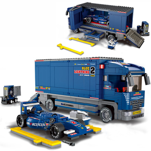 Image 5 - Conjuntos de blocos de construção de caminhão, cidade, ônibus, garagem, escola, transporte de carga, caminhão, crianças, brinquedos, marvel, amigos