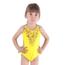 Baddräkt i ett stycke Pure color handgjorda blommor Ljuva barns badkläder Princess Girl Baddräkt 17030