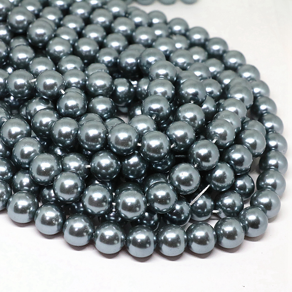 Темно-серый 4-14 мм выбор размера круглый имитация оболочки жемчужные бусины Мода fit diy ожерелье браслет ювелирные изделия изготовление 15 дюймов B1618