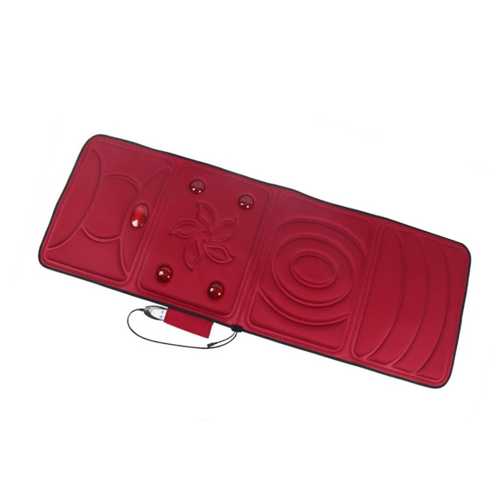 Electric Full Body Massager Pad Mattress Heating Vibrating Back Neck Massage Mat Relieve Stress Health Care Product CN Plug heating massager cushion vibrating full body cervical neck acupressure mattress massage mat tool health therapy care electronic