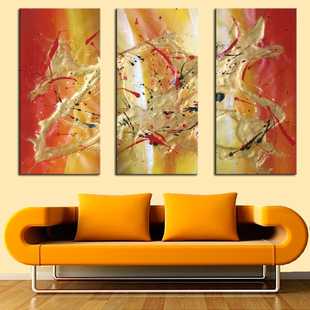 Handmade Art Painting Modern Abstract Oil Paintings 3 Piece Set ...