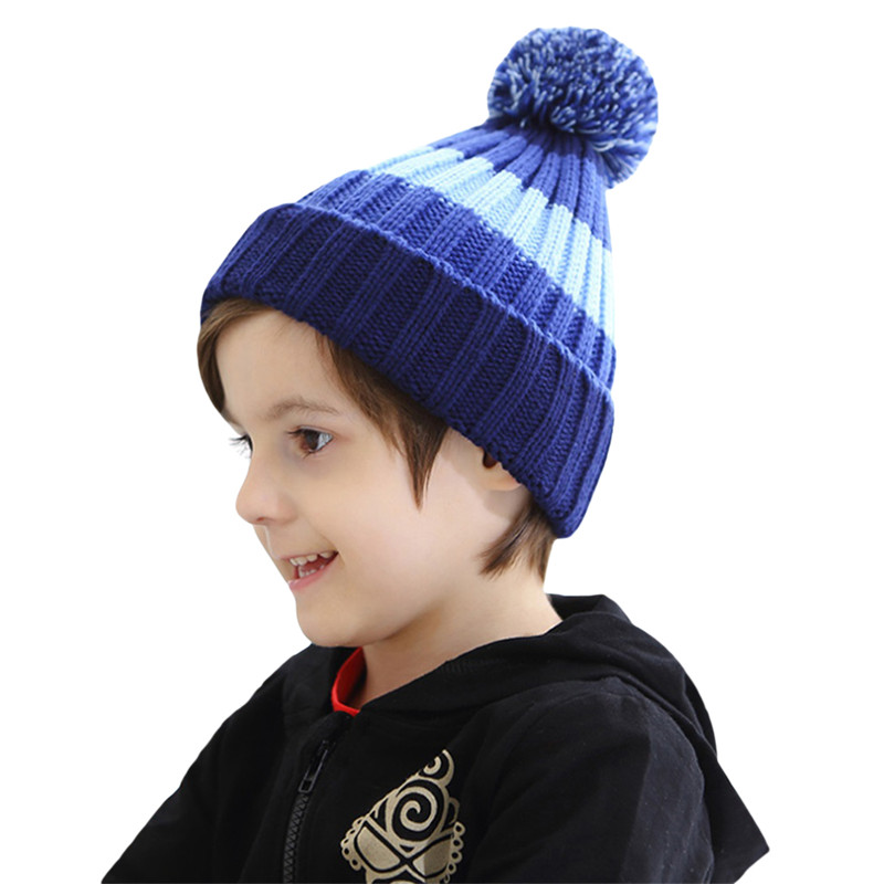 8d1c98fbf10 2018 Kids Fluffy Pom Pom Hat Winter Real Fur Knitted Beanies Baby Boys  Girls Children Warm ...