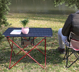 Image 2 - Hot Koop L Size Portable Opvouwbaar Opvouwbare Tafel Bureau Camping Outdoor Picknick Aluminium Ultra Licht