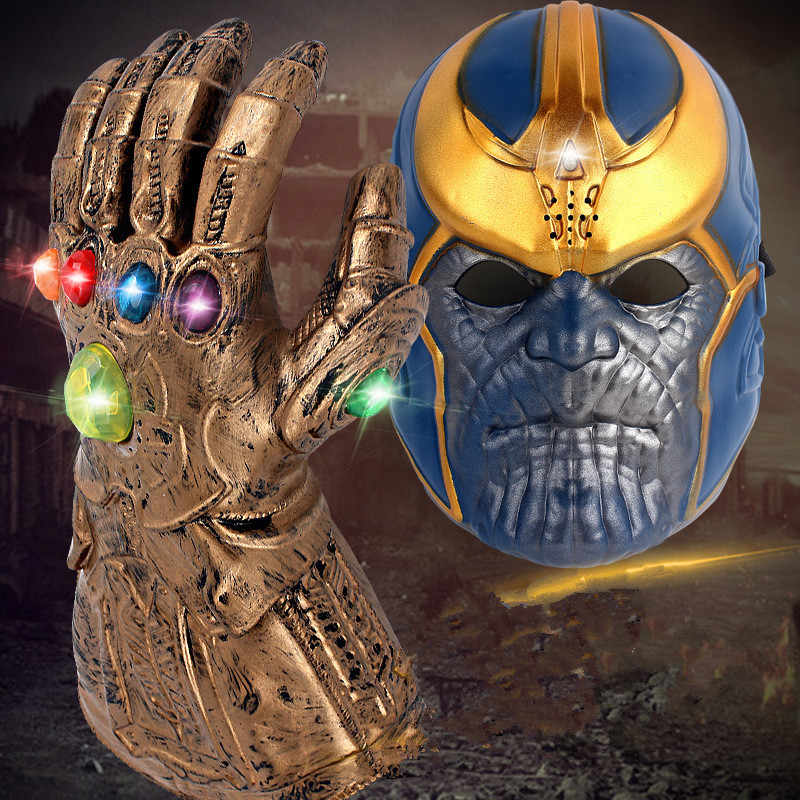 The Avengers 4 Endgame Marvel Thanos Gloves Cosplay Masks Avengers Gem Infinity Gauntlet Plastic LED Glove Mask Kids Child Toy