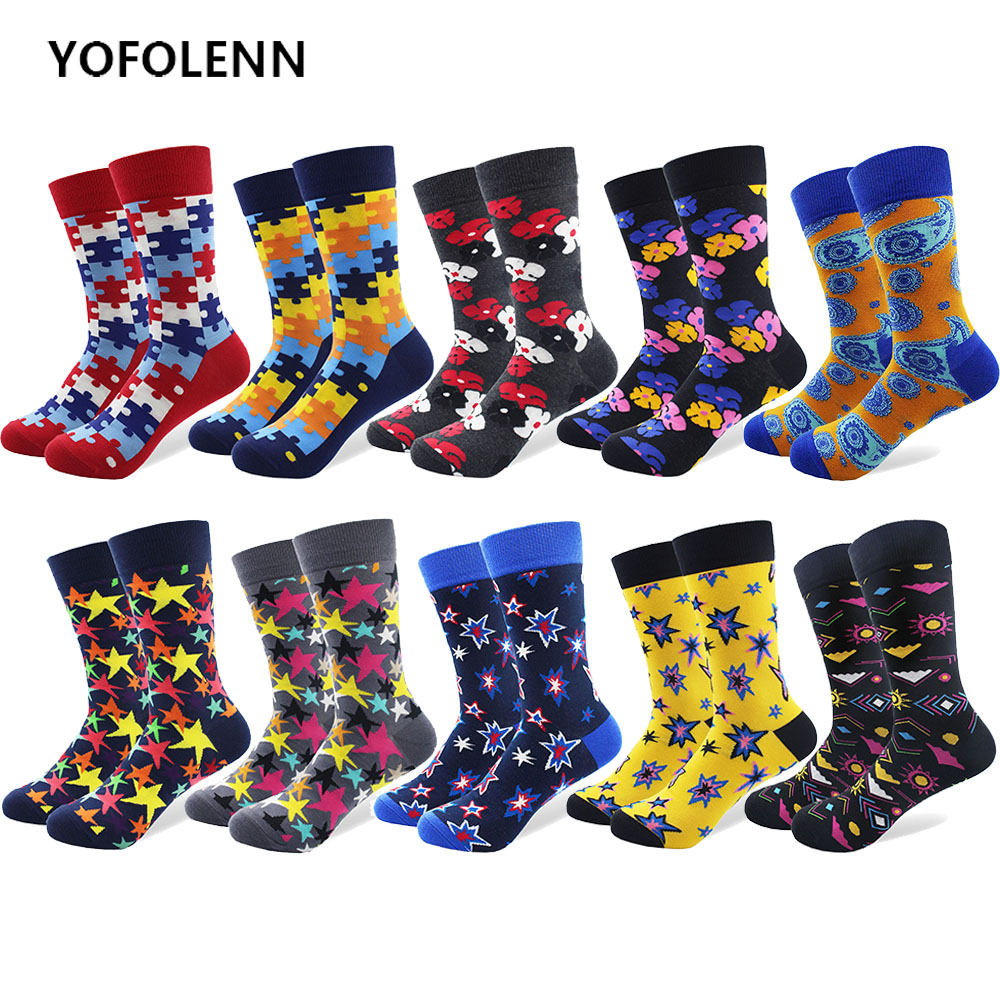 10 Pairs/lot Men Funny Colorful Socks Star Flower Pattern Crazy Skateboard Casual Happy Socks Combed Cotton Crazy Dress Socks