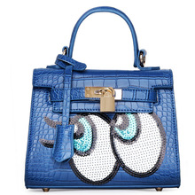 MIWIND Brand 2016 Cute Funny Bag Women Handbag Golden Silver Totes Hell Bag Oxeyes Design Lock Bag Sequins Ladies Satchel Bag