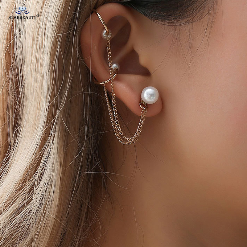 Us 1 27 48 Off White Pearl Earring Tragus Piercing Helix Piercing Cuff Earrings Gold Tassel Earrings Fake Nose Ring Ear Piercing Women Jewelry In