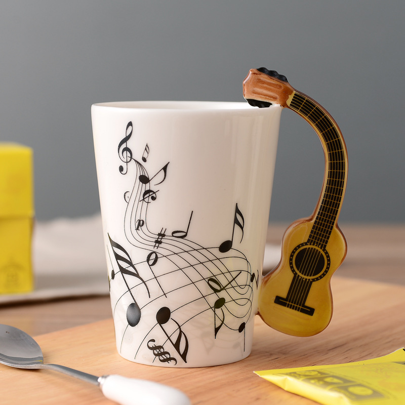 Brand New Novelty Guitar Ceramic Cup Personality Music Note Mug Coffee Tea Cup Water Bottle Unique