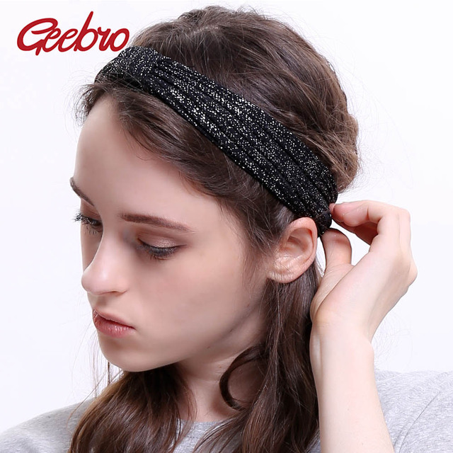 Geebro Wide Headbands For Women Spring Fashion Knotted Turban Knitted  Headband for Ladies Wrap Hairband Turban Hair Accessory d99da731b0f