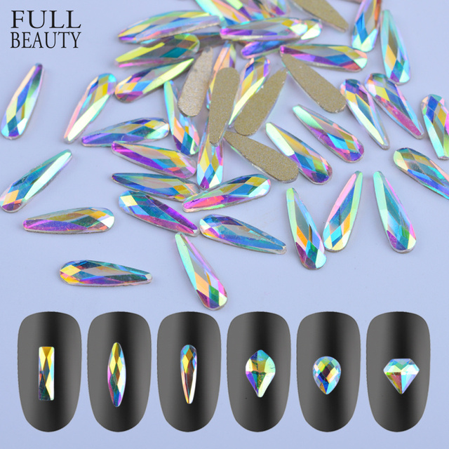 Full Beauty 10pcs Crystal Shiny 3D Nail Art Rhinestones AB Colorful Horse Eye/Waterdrop/Football/Diamond DIY Decor Charms CH532