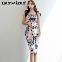 Big Size 2019 Summer Casual Korean Two Pieces Set Sleeveless Blouse Zipper and Bodycon Mini Skrit Print Striped 2
