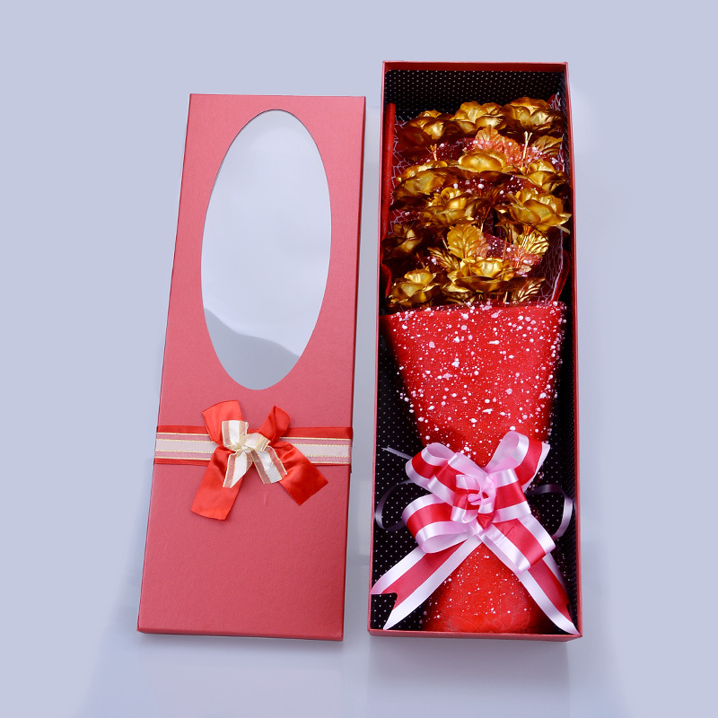 24k Gold Foil Plated Rose Flower Bouquet Gift Box For