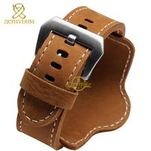 Rétro Épais Véritable bracelet en cuir montre bracelet homme montre bracelet bracelets largeur de bande 22mm 24mm Brun Noir avec tapis