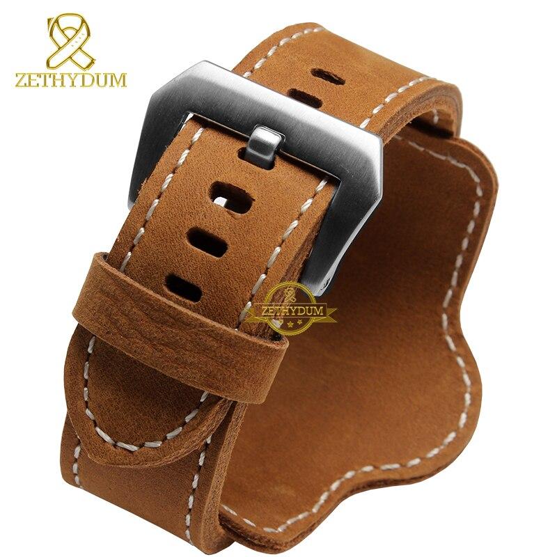 Retro grosso couro genuíno pulseira de relógio de pulso dos homens pulseira de relógio de pulso pulseiras banda 20 22 24mm 26mm marrom preto com esteira