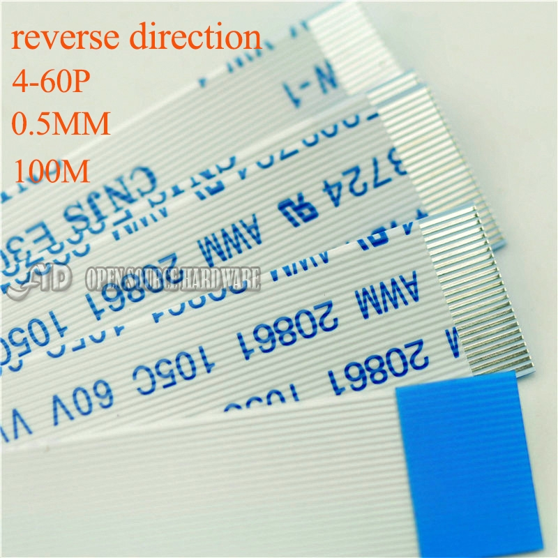 Insulation Material Reverse Direction Pitch 0.5MM 4-60PIN FFC TTL Cable Length 100mm 5pcs / Lot