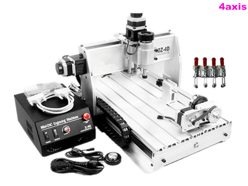 mini 3d cnc router 3040 Z-DQ With 4 Axis CNC Drilling milling machine for wood with plain vice