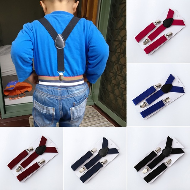 Deepeel 1pc 2*80cm Kids Elastic Suspenders Polyester Adjustable Clip-On Braces Suspender Child Elastic Kids Costume Decoration