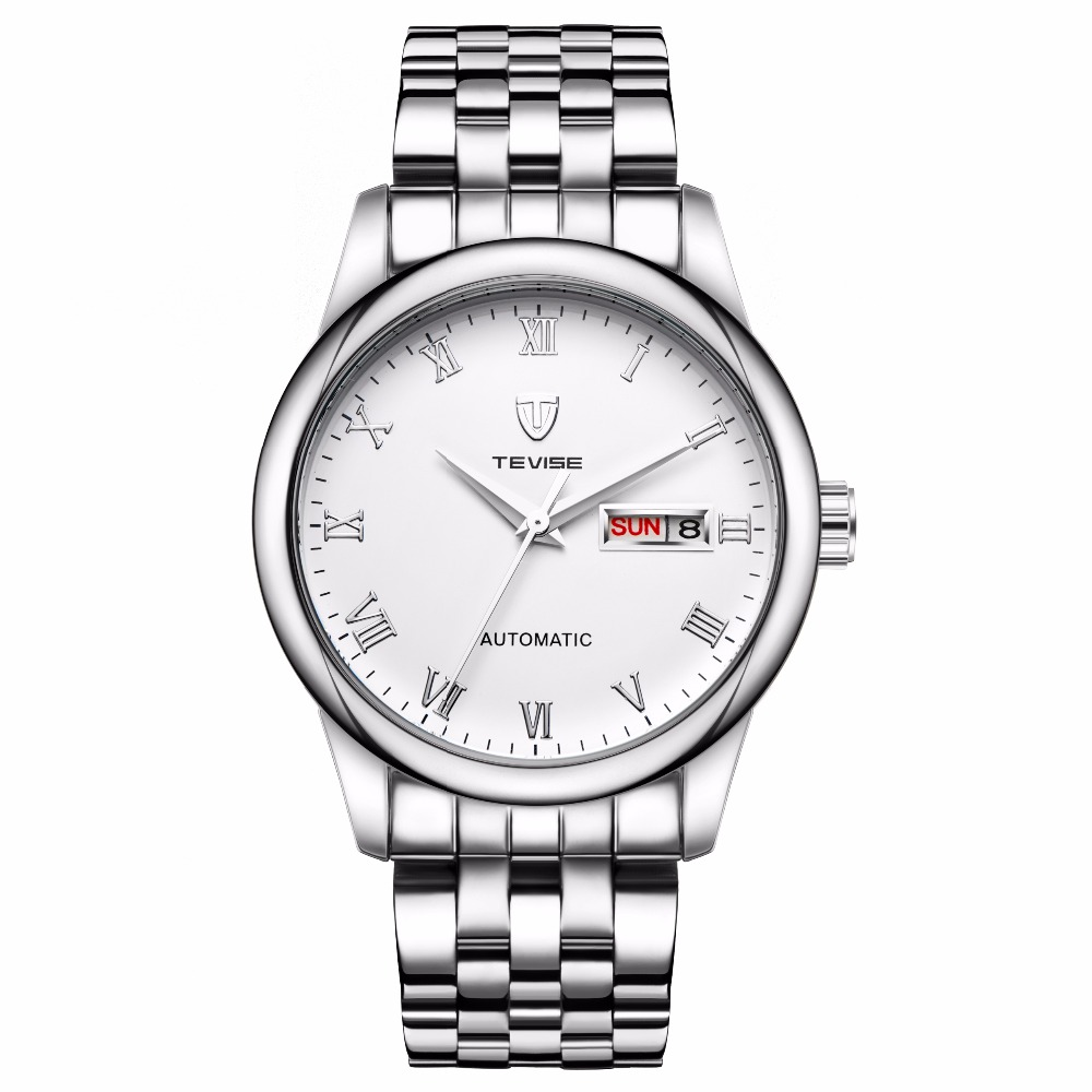 TEVISE Luxury Silver Automatic Mechanical Men Watch Stainless Steel Bracelet Wrist Watch Men relogio masculino цена и фото