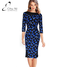 Chu Ni Women Elegant Vintage Retro Rockabilly Floral Print Boat Neck Slim Pinup Casual Spring Party Pencil Fitted Dress N094