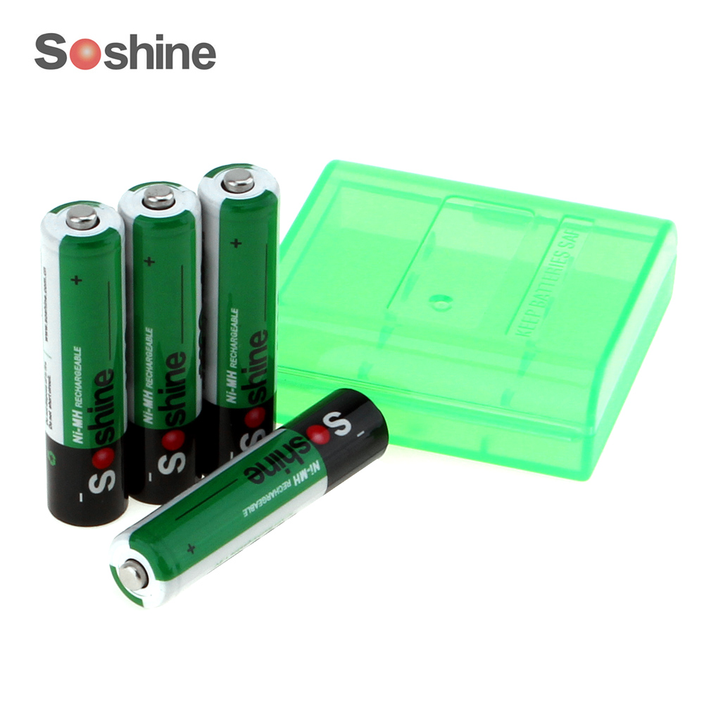 4pcs Soshine 1100mAh 1.2V AAA Battery Ni-MH NiMH Rechargeable Battery for Flashlight Headlamp + Storage Box Battery Case Holder