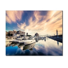 Canvas Calligraphy Painting City Seaside Boats Sunrise Blue Sky Posters Prints Wall Art Pictures For Home Living Room Decoration
