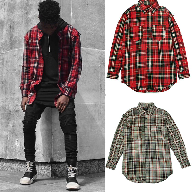 Good quality men 39 s casual damage red plaid shirts man for Mens slim fit flannel shirt