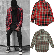 GOOD Quality Men's Casual Damage Red Plaid Shirts Man Autumn Slim Fit Comfort Soft Flannel Cotton Plaid Long Shirt wear