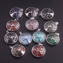 Wholesale 12pcs/lot Tree of Life Pendant Necklace Amethysts Natural Crystal Stone Pendants Handmade Reiki Charm Jewelry Free