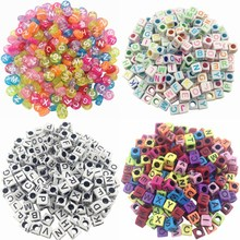 New100pcs/lot Handmade Round Square Colorful Alphabet/ Letter Numbe Acrylic Beads for DIY Bracelet,Necklace Gift
