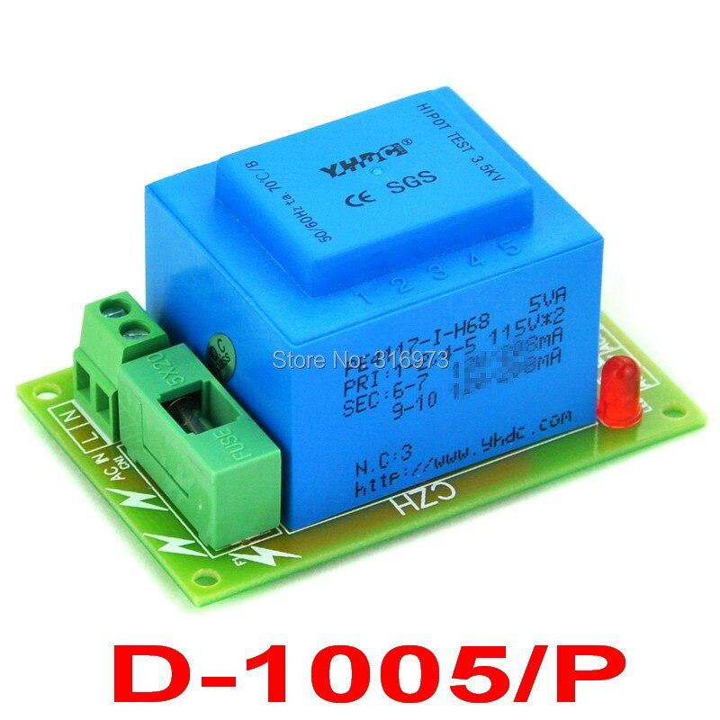 Primary 230VAC, Secondary 2x 12VAC, 5VA Power Transformer Module, D-1005/P,AC12V