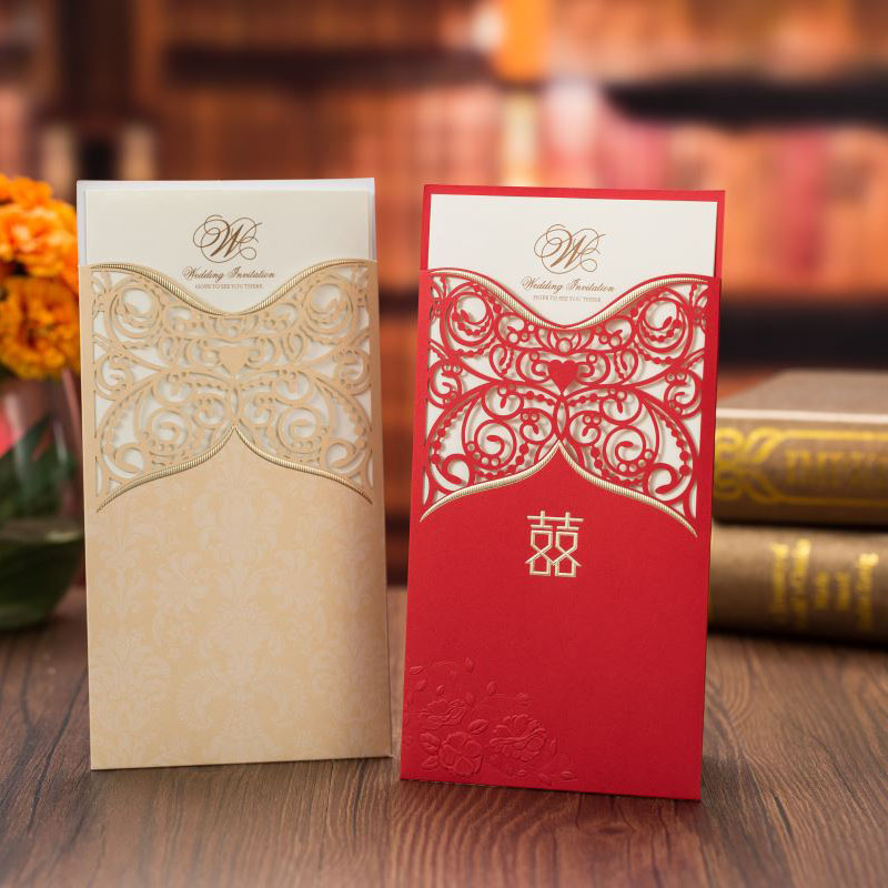 Us 0 82 25 Off 1pcs Sample Red Gold Laser Cut Wedding Invitations Card Lace Flower Greeting Cards Customize Envelopes Wedding Party Decoration In