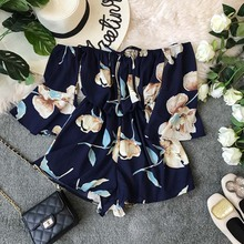 NiceMix 2019 HOT Sale Summer Ladies Bell Sleeve Solid Jumpsuits Off-the-shoulder High Waist Sashes Women Casual Wide Leg Rompers off the shoulder bell sleeve top