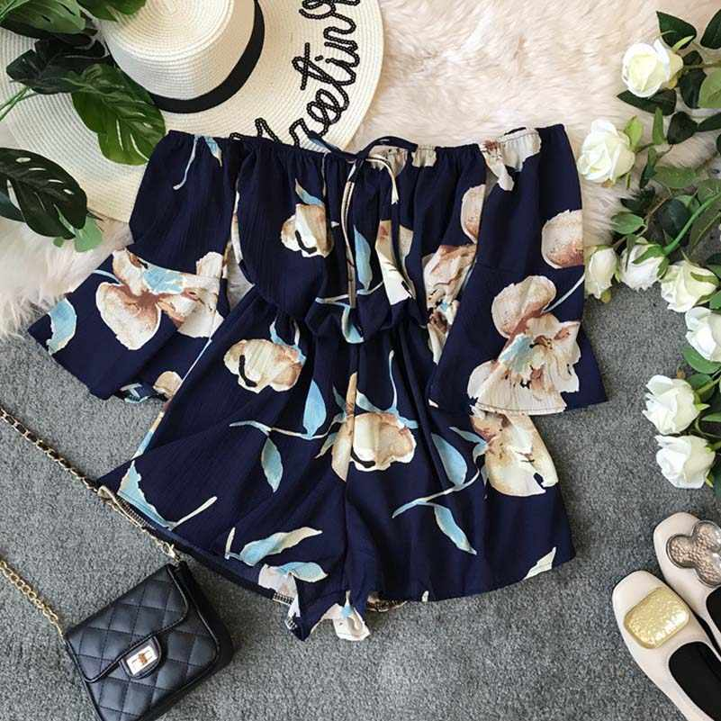 NiceMix 2019 HOT Sale Summer Ladies Bell Sleeve Solid Jumpsuits Off-the-shoulder High Waist Sashes Women Casual Wide Leg Rompers