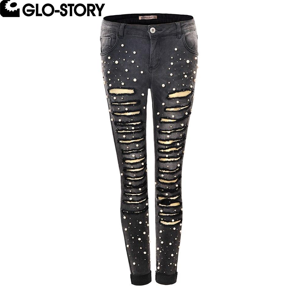 GLO-STORY femmes trou en détresse grande taille Stretch Skinny Jeans femme perle perles déchiré Jeans pour femmes WNK-4108