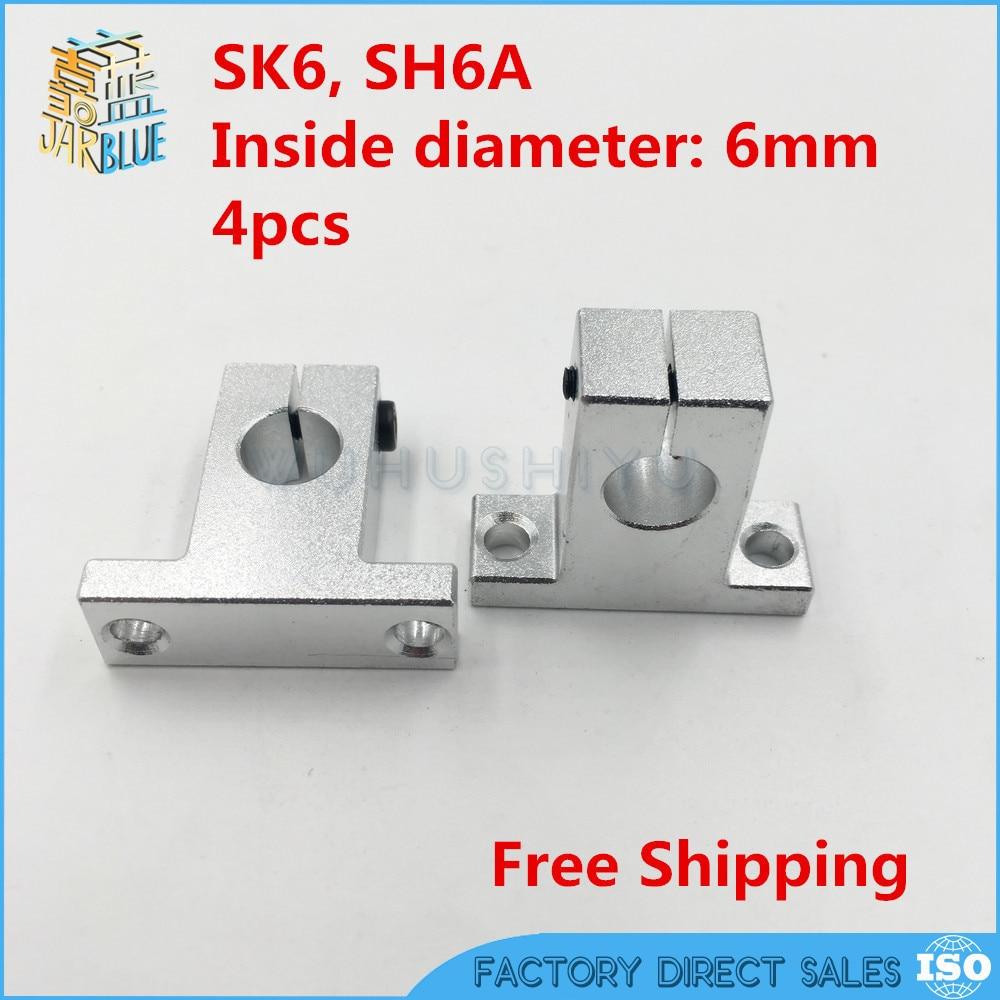 Бесплатная доставка 4 шт. SK6 6 мм Линейный вал Поддержка ЧПУ маршрутизатор SH6A для 6 мм Линейный рельсовый стержень