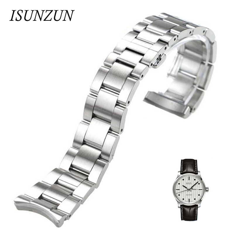 ФОТО ISUNZUN Watch Band For Men And Women For MIDO Mido Helmsman M005430A M005 Watch Strap  Stainless Steel Watchbands Free Shipping