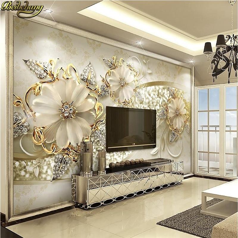 Купить с кэшбэком beibehang 3d Stereo Luxury Gold European Style Jewelry TV Background Wall Custom Photo Wallpaper Large Wallpaper Wall Sticker