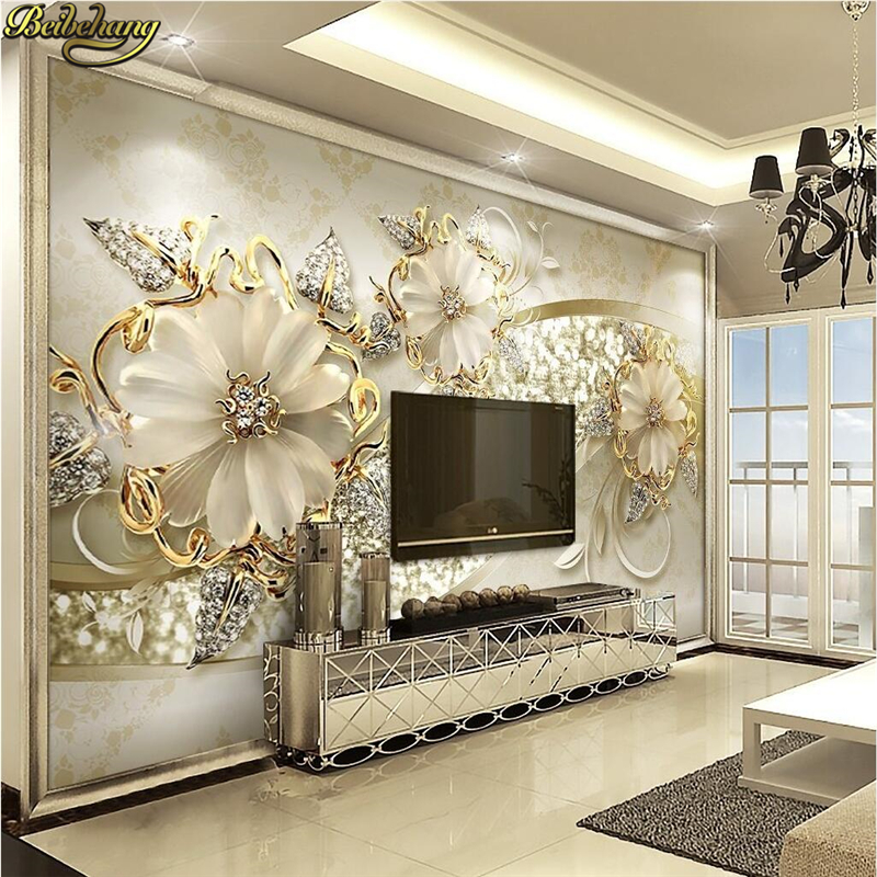 Beibehang 3d Stereo Luxury Gold European Style Jewelry TV Background Wall Custom Photo Wallpaper Large Wallpaper Wall Sticker