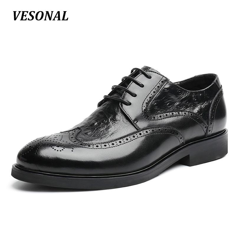 VESONAL Genuine Leather Brogue Designer Formal Business Office Dress Men Shoes Classic Elegant Mens Casual Oxfords Brown Black